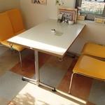 キラキラ - テーブル下の輪っかにリードを繋げられます。