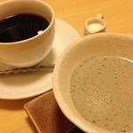 野に咲く花のように - デザートの黒ごまプリンとコーヒー