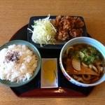 どんきゅう - あらあげセット580円・どんきゅうの人気商品です。麺はうどん・そば・きしめんの温・冷から選べます