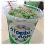 ディッピンドッツ・アイスクリーム - メロンレインボーとかいう名前だったかな。欲張ったけど、ビーズアイスとジュースは分けるべきだった(反省)