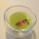 Restaurant Satoshi.F - 金華ハム、奥美濃古地鶏、空豆のスープ