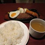 グリルハンター - ジャンボエビフライ&手ごねハンバーグステーキ(880円)+目玉焼き(120円)