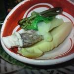 志蕎庵 江月 - 筍とタイの酢味噌づけ