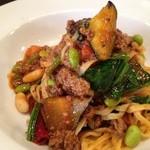 イタリア食堂ポルコ - 茄子とビーンズ・ほうれん草の挽肉ボロネーゼ