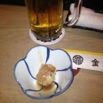 金寿司 - お通しの貝のひも