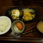 すてーき亭 - ペッパークリームチーズハンバーグセット