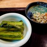 黙坊 - 野沢菜とところてん、蕎麦の実