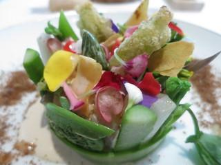 ランベリー - オードブル 山菜と貝類 クレームドレザム お花畑の装い