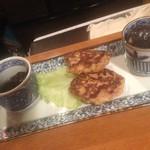 築地 熊ごろう - お惣菜おまかせ三点盛り(茄子の揚げ浸し・ミニハンバーグ・三番瀬の生のり三杯酢)(2013.4.11)