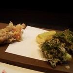 萌えぎ - 蛍烏賊と春の山菜(タラの芽、山うど)の天婦羅 2013年4月