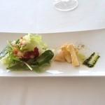 アル セッティモ チエロ - 前菜、グリル筍とホタテのマリネ