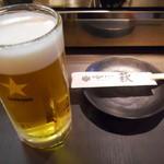炭火やきとり 萩 - 生ビール