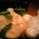 酒楽遊膳えびす - 「博多新おでん5種盛り」擦り下ろした自然薯がかかってるのです。これを絡めて薬味をつけて頂きます。