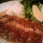 酒楽遊膳えびす - 黒毛和牛のレバ刺(肉厚でプリップリの食感が!自家製塩だれで召し上がれ)