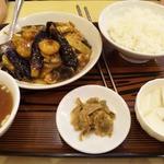 18388479 - エビとイカ入りナス辛味噌炒め定食
