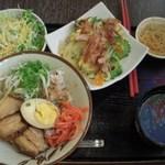 南風花 - 2品ハーフ定食 ラフテー丼とゴーヤチャンプル