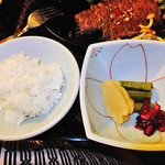ゆじゅく 金田屋 - 夕食(ご飯 & 漬物)