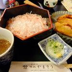 味処山惣 - ランチメニューの舞(桜色の素麺とほうろく焼と甘味付セット)