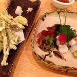18432343 - 旬の野菜天ぷらと、たこのぶつ切り