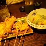 おっちゃんの台所 - お任せ串揚げ+揚げ出し豆腐