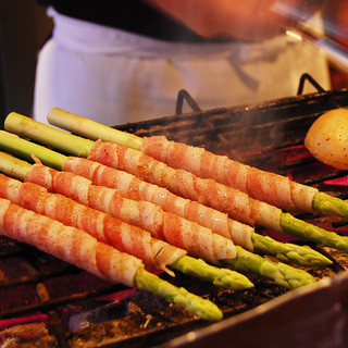 炭火で焼いた野菜は絶品♪