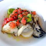 レストラン 樹葉亭 - カキとホタテ貝のポワレ フレッシュトマトと白バルサミコ酢ソース(2013年4月)