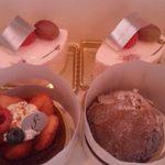 Patisserie SOIR - いちごタルト、モンブラン、桜ムース×2