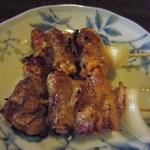 焼鳥 とり平 - 料理写真:そして私が驚かされた明太巻き180円、明太子を豚肉で巻いた焼鳥ですがこの二つに相性がバッチリでびっくり。