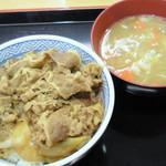 吉野家 - 「牛丼」(並盛280円)と「とん汁」(150円)