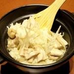 居酒屋 口福や - 総州古白鶏とごぼうの炊き込みご飯