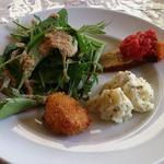 18470111 - 前菜3種とグリーンサラダの盛り合わせ