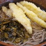 俵山湧水そば - 2013.04高菜蕎麦。ゴボウ天ぷら5枚。