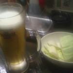 18490687 - 生ビール(¥480-)、お通しキャベツ