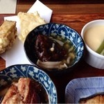 18503981 - 旬の天ぷら*おくら万十木の子あん*いんげんと空豆茶わん蒸し