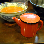 らーめん処 萬佑 - スープ割り、割りスープが少ないのか漬け汁が多すぎるのか・・・
