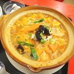 餃子の唐安楼 - 豚肉とキムチの土鍋うま煮定食