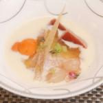 18557965 - 海老・鮪・生雲丹 柔らかな卵と冷製スープ仕立て                       海老風味のジュレと西洋山葵の風味