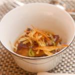 18557967 - フランス産フォアグラのソテーと五穀物のハーモニー                       季節の香る西京味噌と牛蒡のコントラスト