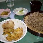 めん処ふたば - 料理写真:ざる 350円、小かき揚げ+小おにぎり 120円