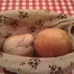 18561149 - 右:自家製パン。左:バケット。