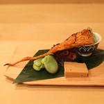 樋口 - 八寸 (独活と筍の木の芽和え、蛸の柔らか煮、蘇、半生クチコ、そら豆) (2013/04)