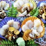 民宿ビーチ - ヒオウギ貝のお刺身です