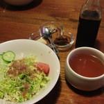 ビッグ テキサス - セットのサラダ・スープ・お肉用のトッピングとソース