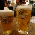 浜一番屋 - キリン一番搾りフローズン生ビールグラス(530円)とキリン一番搾り「極冷え」生ビール(530円)