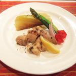 ガネーシュ - 2013春を味わうコース(4000円)の春野菜とスパイシー・チキンコンフィ