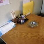 なをゑ食堂 - 小上がりのテーブルの卓上