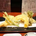 蕎麦切り屋 - 天もり(海老・隠元・南瓜・タラの芽)