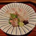 日本料理くりた - ヒラメのお刺身、クルマエビのあらい