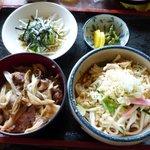 松良 - 料理写真:冷やしたぬき・鴨すき丼セット