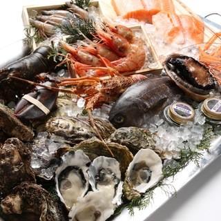 新鮮な魚介と旬の食材を使ったお料理をお楽しみください